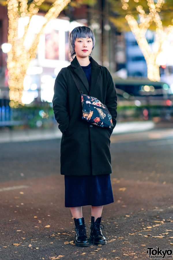 Tokyo Monochrome Fashion w/ &ellecy Floral Bag & Dr. Martens Boots
