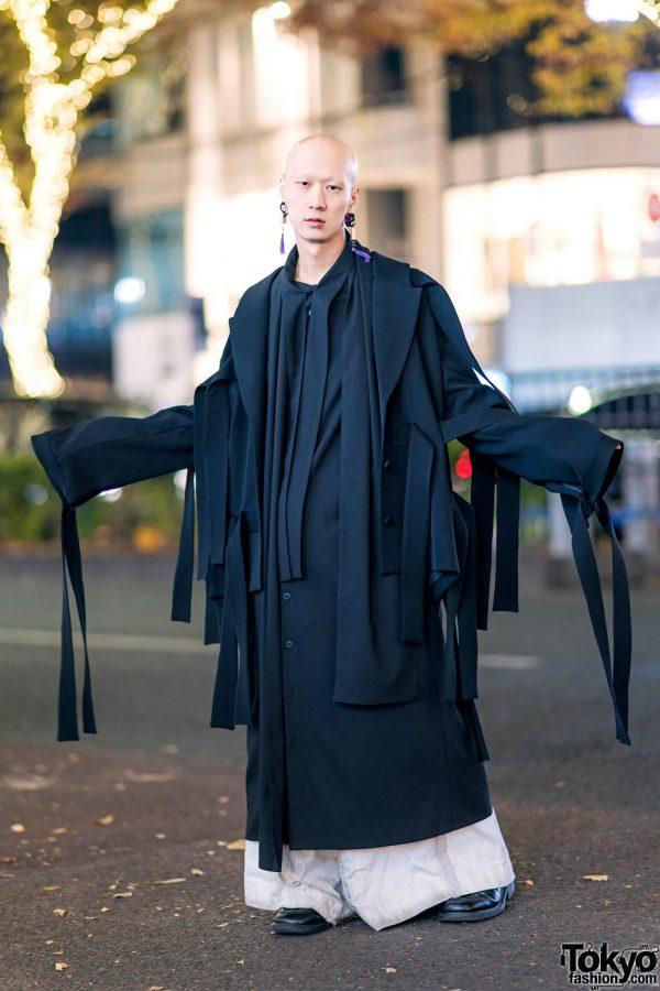 Japanese Musician in Harajuku w/ Kemono Japan Oversized Coat, Nozomi Ishiguro & Dr. Martens