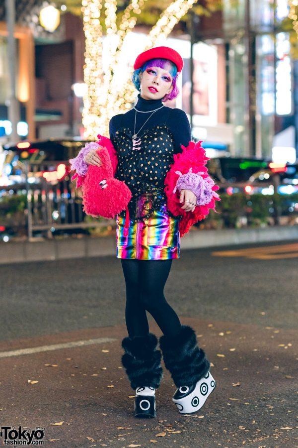 6%DokiDoki Staffer in Rainbow Fashion w/ Rainbow Hair, Lazy Oaf Knit Cardigan, Metallic Rainbow Skirt, Helter Skelter Metal & Current Mood Platforms