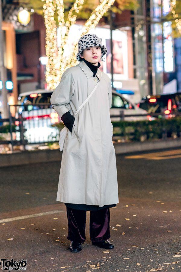 Harajuku Menswear Street Style w/ Burberry Coat, Velvet Pants, Leopard Print Hat & YSL Wingtip Shoes