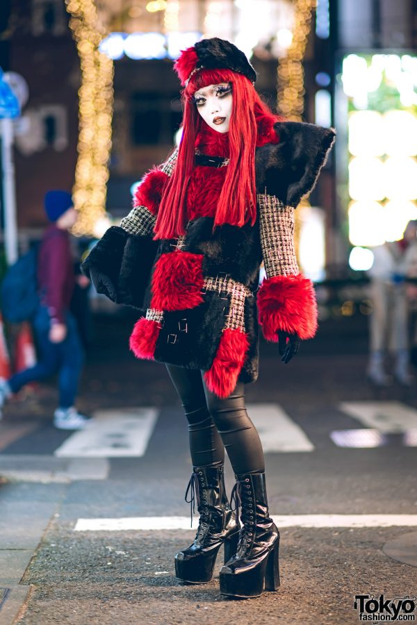 Japanese Shironuri Artist Minori in Red & Black Vintage, Handmade & Remake Fashion in Harajuku