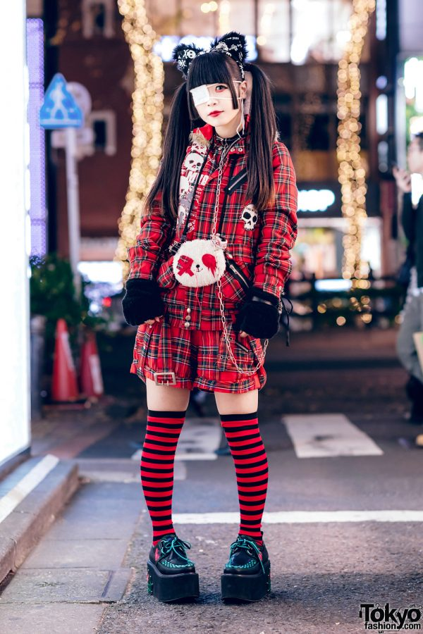 Harajuku Goth Girl in Red Plaid Street Fashion w/ Twin Tails, Cat Ears, Mad Punks Jacket, Hangry&Angry, Super Lovers & Yosuke