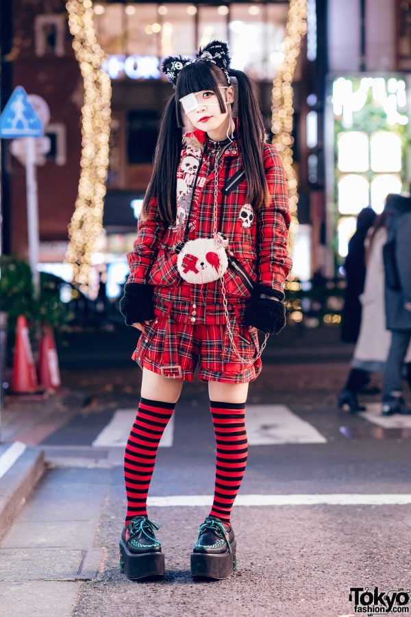 Harajuku Goth Girl in Red Plaid Street Fashion w/ Twin Tails, Cat Ears, Mad Punks Jacket, Hangry&Angry, Super Lovers & Yosuke 3