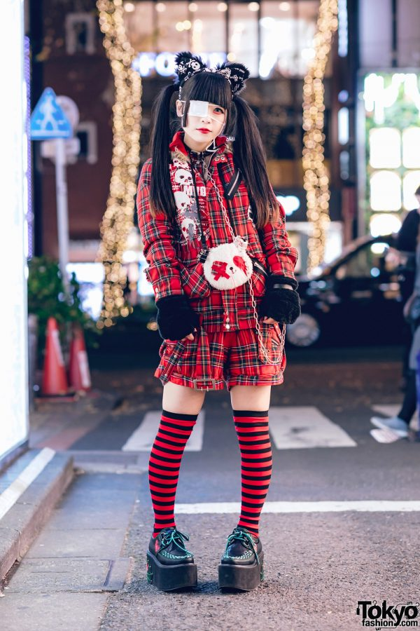 Harajuku Goth Girl in Red Plaid Street Fashion w/ Twin Tails, Cat Ears, Mad Punks Jacket, Hangry&Angry, Super Lovers & Yosuke 4