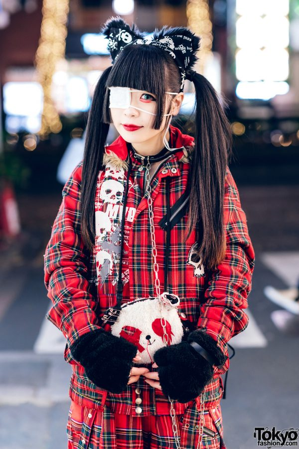 Harajuku Goth Girl in Red Plaid Street Fashion w/ Twin Tails, Cat Ears, Mad Punks Jacket, Hangry&Angry, Super Lovers & Yosuke 5