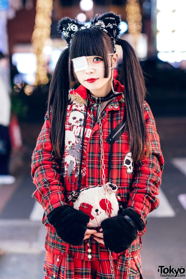 Harajuku Goth Girl in Red Plaid Street Fashion w/ Twin Tails, Cat Ears, Mad Punks Jacket, Hangry&Angry, Super Lovers & Yosuke 6