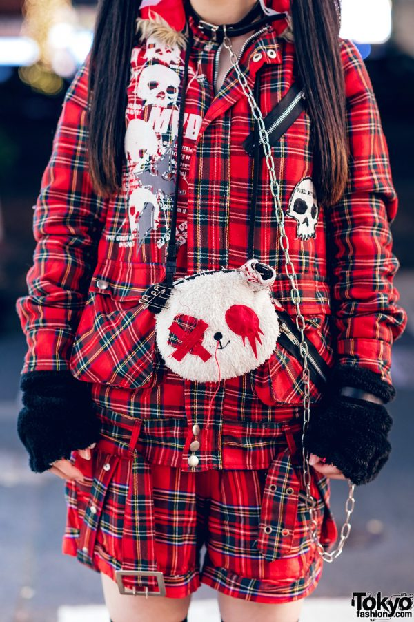 Harajuku Goth Girl in Red Plaid Street Fashion w/ Twin Tails, Cat Ears, Mad Punks Jacket, Hangry&Angry, Super Lovers & Yosuke 8