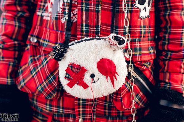 Harajuku Goth Girl in Red Plaid Street Fashion w/ Twin Tails, Cat Ears, Mad Punks Jacket, Hangry&Angry, Super Lovers & Yosuke 9