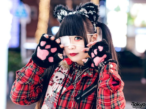 Harajuku Goth Girl in Red Plaid Street Fashion w/ Twin Tails, Cat Ears, Mad Punks Jacket, Hangry&Angry, Super Lovers & Yosuke 7