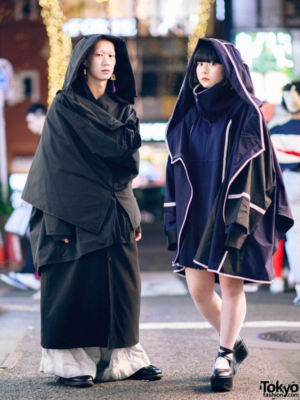 Japanese Minimalist Streetwear Styles w/ Blunt Bob, Tassel Earrings, Kemono Hooded Coats, Nozomi Ishiguro, Dr. Martens & Tokyo Bopper Ankle-Wrap Platforms