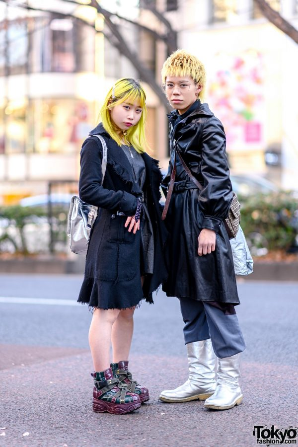 Tokyo Duo's Streetwear Styles w/ Yellow Hair, Frayed Coat, Denim Dress, Strap Boots, Belted Coat, Silver Boots & Fendi Crossbody Bag