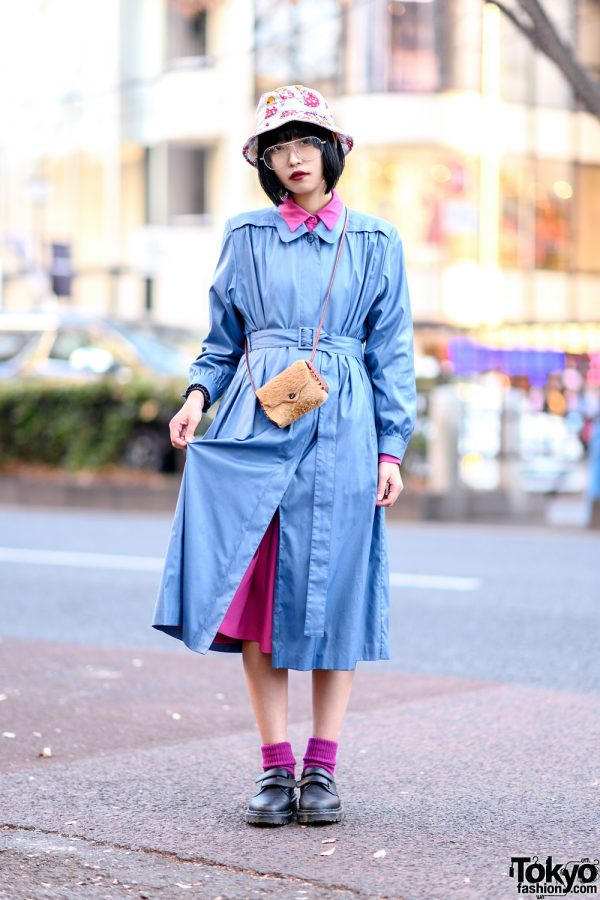 Harajuku Street Style w/ Handmade Bucket Hat, Belted Maxi Coat, Dr. Martens Velcro Strap Shoes & Furry Crossbody Bag