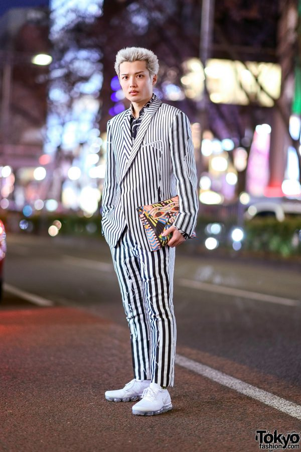 Monochrome Japanese Street Style w/ Haider Ackermann Striped Suit, Versace Graphic Shirt, Nike Sneakers & Givenchy Clutch 2