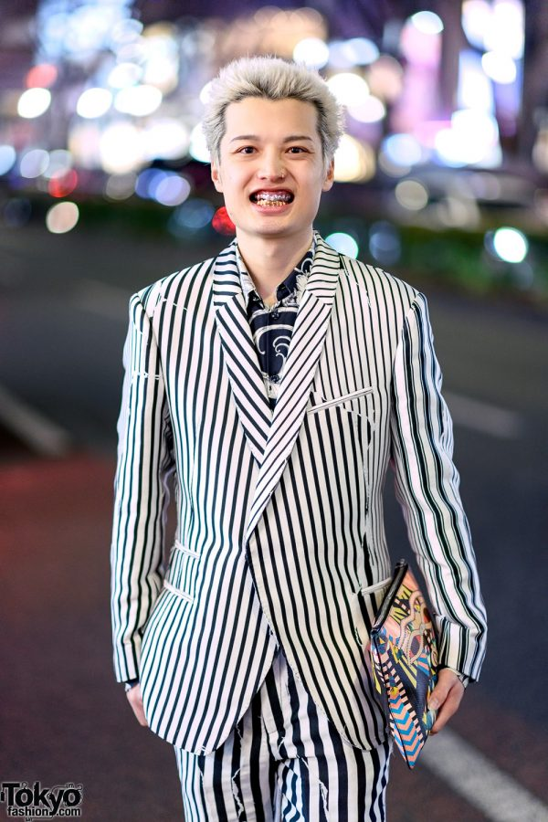 Monochrome Japanese Street Style w/ Haider Ackermann Striped Suit, Versace Graphic Shirt, Nike Sneakers & Givenchy Clutch 4