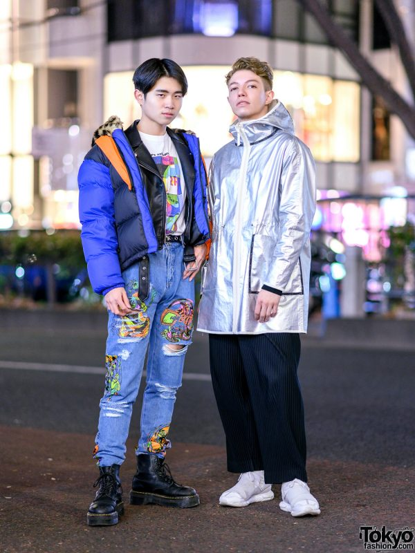 Tokyo Mens Streetwear Fashion w/ Moschino Puffer Jacket, Issey Miyake Accordion Pants, Jeremy Scott, Dr. Martens, RRR, Nike, Lemaire & Y-3 Sneakers