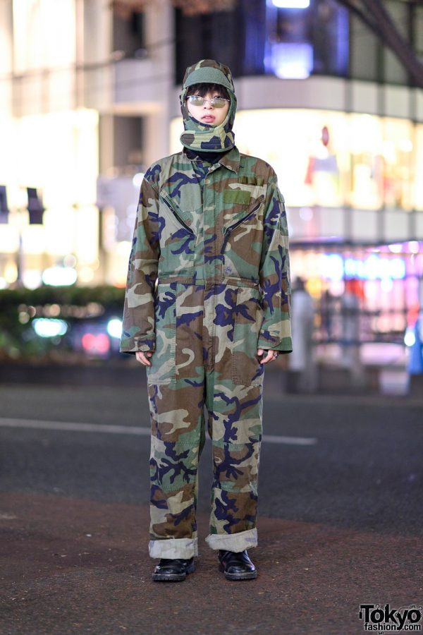 Camouflage Streetwear Style in Harajuku w/ Cuffed Overalls, Matching Camo Head Gear & Leather Boots