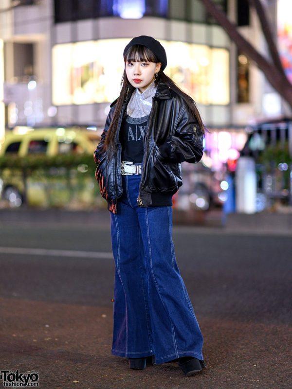 Denim Flared Pants Style w/ Pinnap, Funktique Tokyo, Armani Exchange, OK & Vintage Fashion