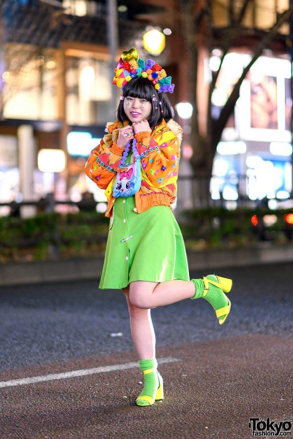 Colorful Tokyo Street Style w/ Handmade Rainbow Plushie Headdress, Furry Bear Muffler, Neon Green Dress & Pom Pom Bag