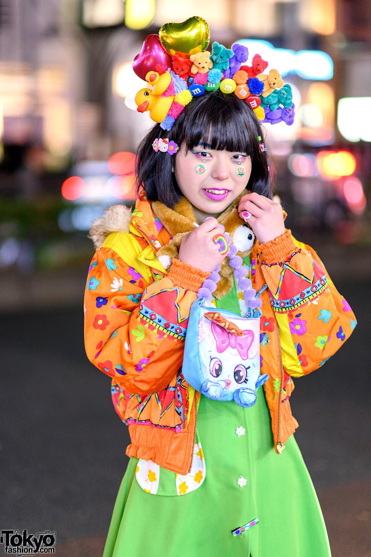 Colorful Tokyo Street Style W Handmade Rainbow Plushie