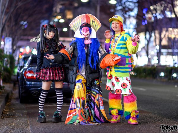 Harajuku Avant-Garde vs. Gothic vs. Kawaii Street Styles w/ Blue Hair, Putumayo Plaid Skirt, EXIT Headdress, Frammy Pants, Jeremy Scott x Adidas, Rainbow Hair, Galaxxxy & Dolls Kill Rainbow Leg Warmers