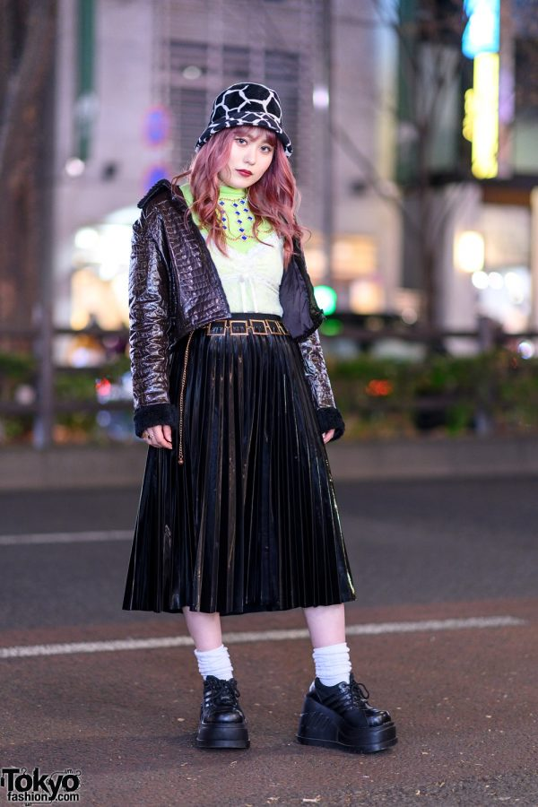 Chic Harajuku Street Style w/ Pinnap Cropped Jacket, Gallerie Lace Cami, Pleated Skirt, Vidakush Necklace & Demonia Platforms