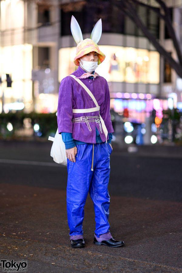 Resale Harajuku Street Style w/ Bunny Ears, Corduroy Jacket, Faux Leather Pants, Layered Belts & Yohji Yamamoto Bag