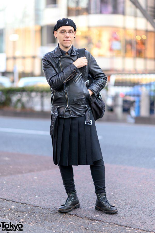 All Black Harajuku Street Style w/ Kangol Beret, Nano Universe Leather Jacket, Yohji Yamamoto Kilt & Vintage Chippewa Boots