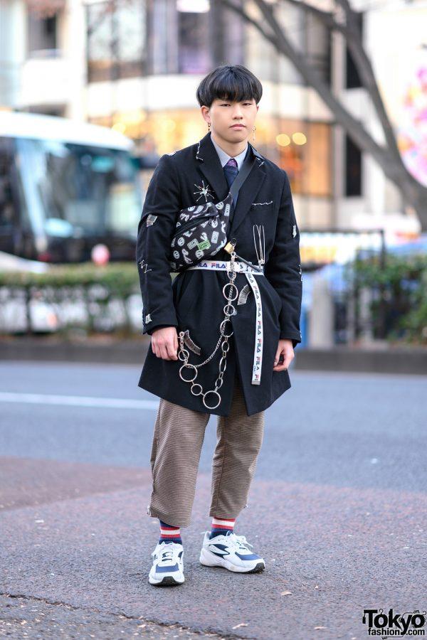 Tokyo Street Style w/ GU Embellished Coat, Houndstooth Pants, Gucci Socks, Rivers Pia, Cocolo Bland Waist Bag & FILA Sneakers