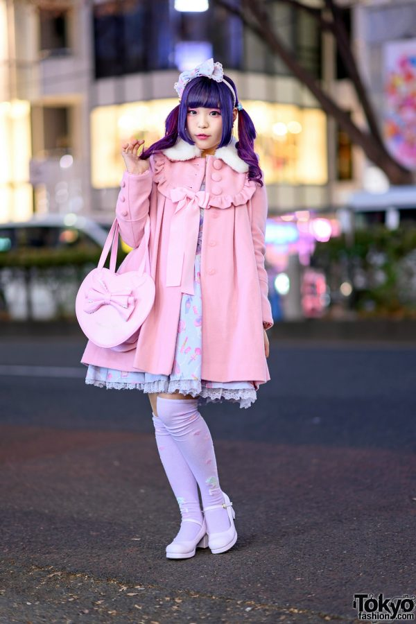 Kawaii Japanese Street Style in Harajuku w/ Twin Purple Tails, Angelic Pretty Ribbon Coat, Jumper Dress, Yumetenbou Baby Doll Shoes & Heart Bag