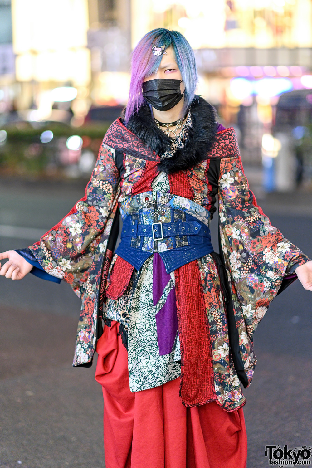 Qutie Frash Kimono Style In Harajuku W Pink And Blue Hair