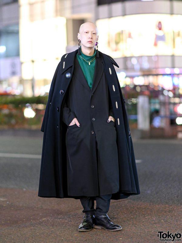 Tokyo Menswear Street Style w/ Tassel Earrings, Yohji Yamamoto, Y's, Vivienne Westwood Men, Dior & Yves Saint Laurent Leather Shoes