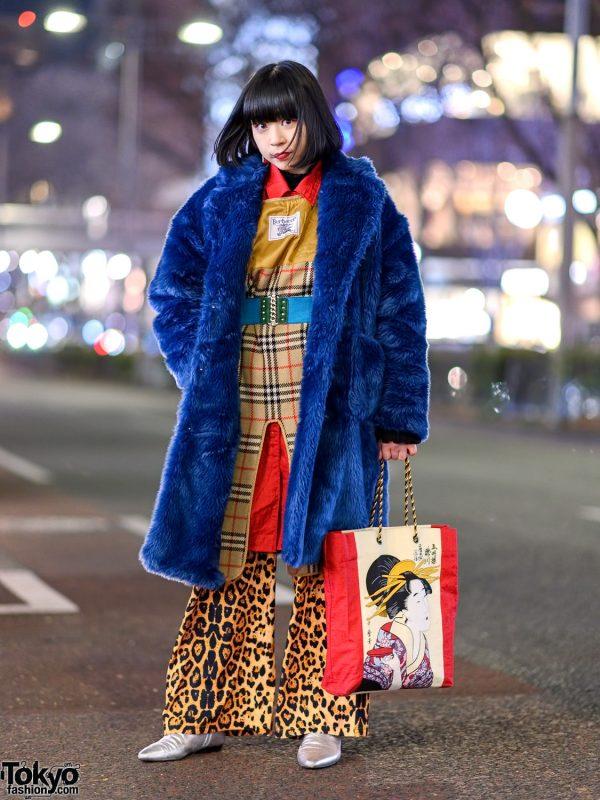 Bold Colorful Tokyo Streetwear Style w/ Jouetie Faux Fur Coat, Leopard Flared Pants, Geisha Print Bag & Zara Pointy Flats