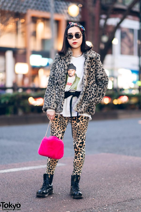 Leopard Print Streetwear Style in Harajuku w/ Flyaway Bob, Hysteric Glamour Furry Jacket, Supreme Sweatshirt, Dr. Martens & Forever21 Furry Sling