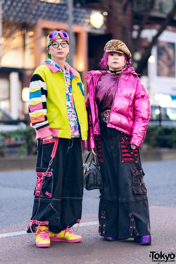 Colorful Couple Street Styles w/ Pink Braids, ESQ Heart Goggles, Tripp NYC, Jeremy Scott x Adidas, Kobinai, Demonia & MCM Handbag