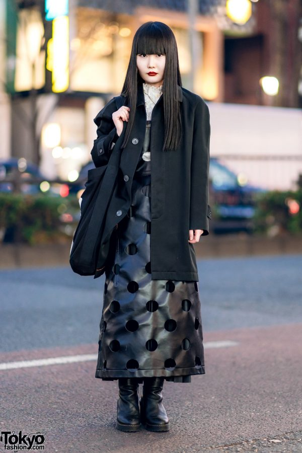 Monochrome Japanese Street Style w/ Comme des Garcons Cutout Dress, Yohji Yamamoto, Vivienne Westwood & Dr. Martens