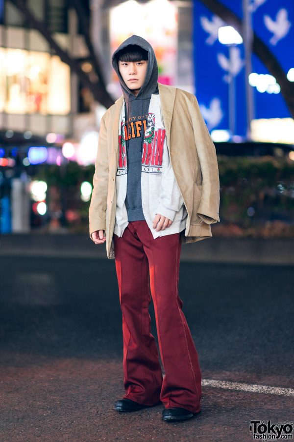 Tokyo Layered Street Style w/ Corduroy Blazer, University of the Pacific Hoodie, The Elephant Collarless Jacket, Lee Flared Pants & Leather Shoes