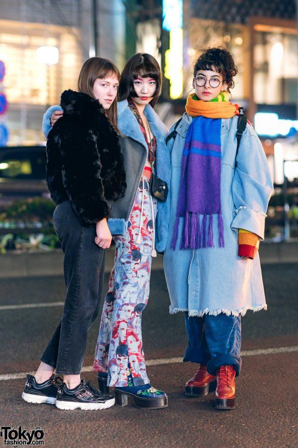 Harajuku Girls Street Fashion w/ Burberry Furry Coat, Heurueh Shearling Jacket, Second Street Denim Coat, Barrack Room, Otoe, Daniel Wellington, Fila & Murral