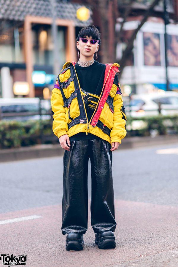 """SEXY"" Choker, Dog Harajuku Jacket, Never Mind the XU Faux Leather Pants, Nishikaigan Waist Bag & Demonia Platforms"