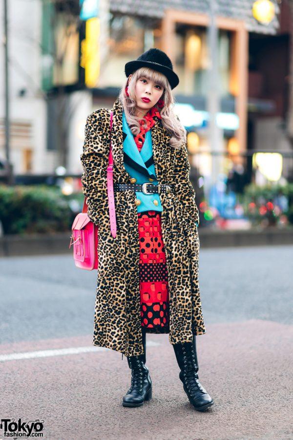 Kinji Shimokitazawa Staffer in Mixed Prints Fashion w/ Leopard Print Maxi Coat, Polka Dot Dress, Aqua Blazer, Esperanza Knee Boots, Furry Fedora & The Cambridge Satchel Company Bag