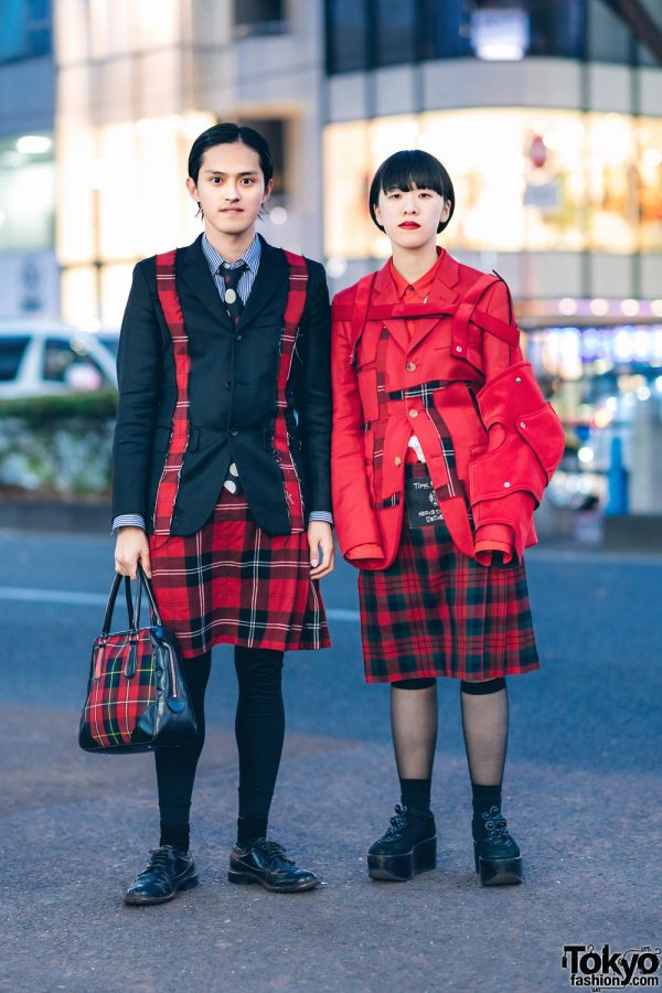 "Comme des Garcons Homme Plus x Jamie Reid ""Time For Magic"" Plaid Street Styles & Tokyo Bopper Platforms"