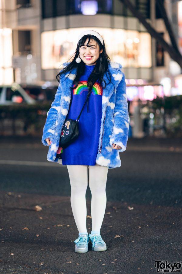 Blue Harajuku Street Style w/ Cloud Print Furry Coat, Lazy Oaf Rainbow Sweater Dress, Puma Sneakers & Anna Sui Crossbody Bag
