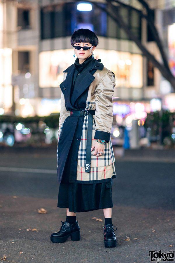 Plaid Menswear Street Style in Harajuku w/ Blunt Bob, Burberry Coat, Y-3 Belt, Saad Pointy Glasses, Lowrys Farm Skirt & Yosuke Platforms