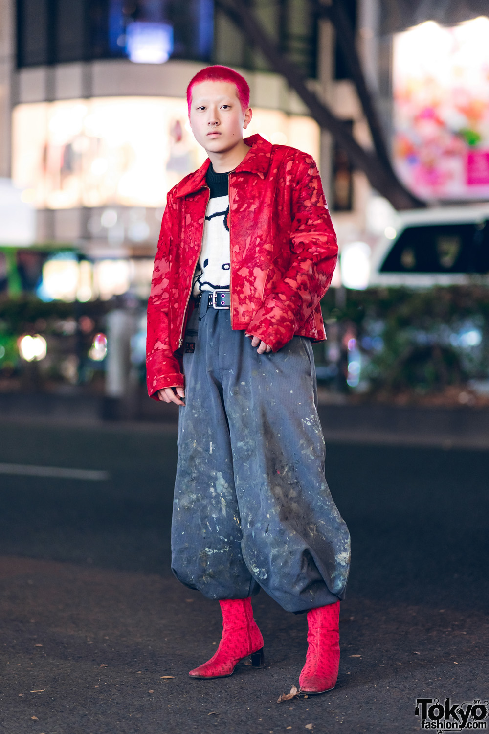 Harajuku Street Style w/ Red Hair, Japanese Nikka Pokka Pants, Contena Store Jacket, Hello Kitty Sweater & Red Boots
