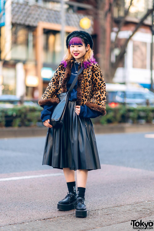 e989ad30c Tokyo Leopard Print Street Style w/ Faux Fur Hat, Purple & Blue Hair, Oh  Pearl, Yosuke & Vintage Fashion