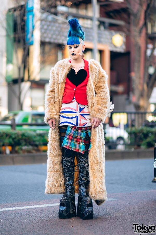 "Vintage Fashion Buyer in Harajuku w/ Faux Fur Maxi Coat, Vivienne Westwood Safety Pin Piercing, Bow Bag & Pleaser ""Devious Fabulous"" Platforms"