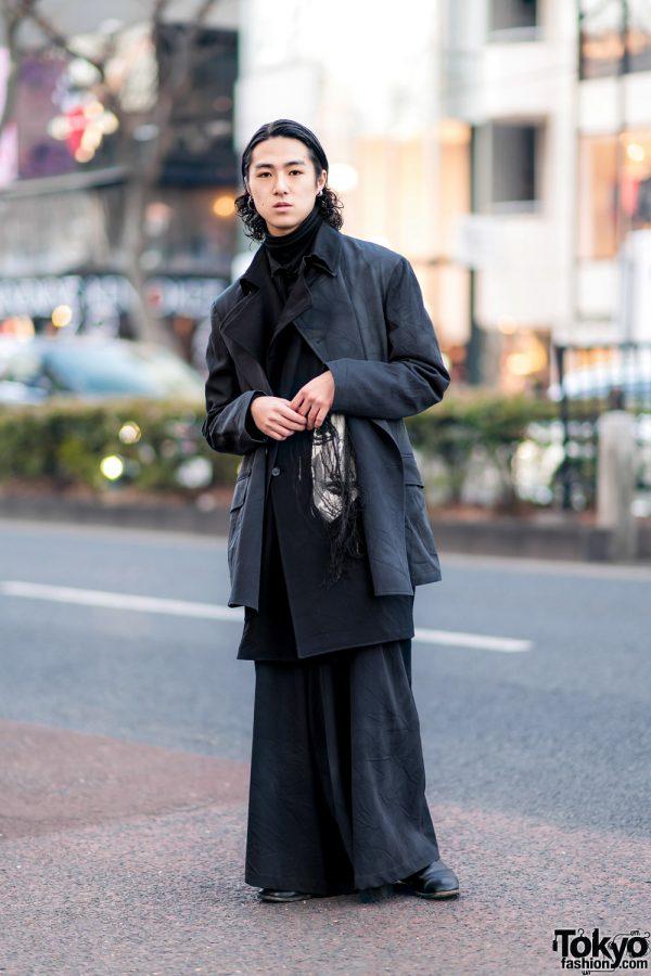 All Black Yohji Yamamoto Streetwear in Harajuku w/ Curly Hair Tips, Layered Wrinkle Texture Coats, Wide Leg Pants & Gucci Chelsea Boots