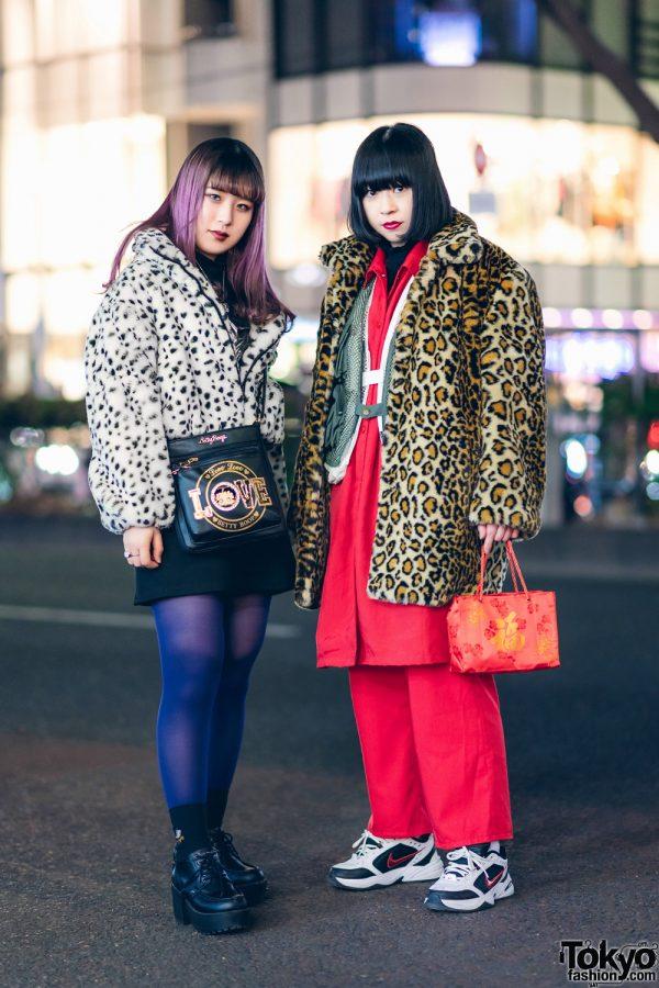 Chic Harajuku Girls Street Styles w/ Purple Hair, Animal Print Coats, H&M, Uniqlo, Romantic Standard, Jouetie, Yosuke, Nike Air Monarch IV Sneakers & Betty Boop Handbag