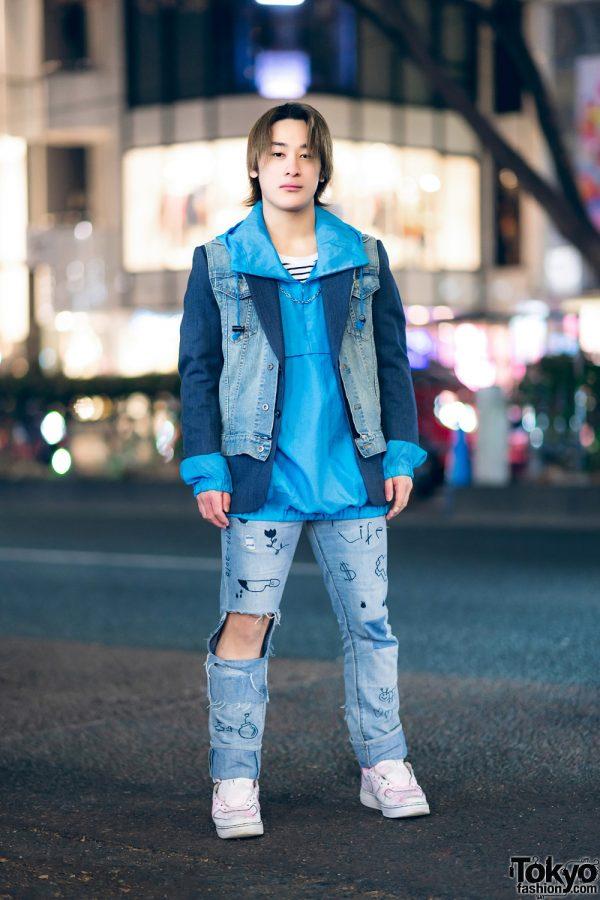 Tokyo Street Style w/ Denim Vest, Hoodie Sweater, Cutout Jeans & Sneakers