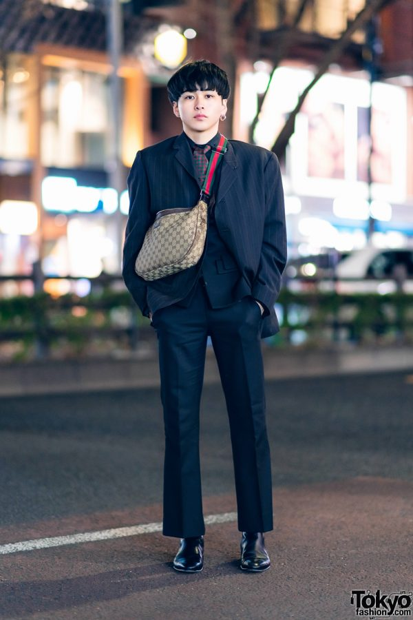 Japanese Actor in Designer Street Style w/ Y's for Men, Gucci, Commuse, & Christian Dada