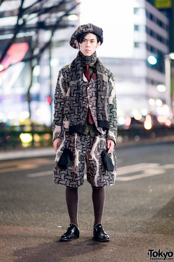Christopher Nemeth Rope Print Fashion in Harajuku w/ Beret, Layered Tops, Wide Leg Shorts & Leather Shoes
